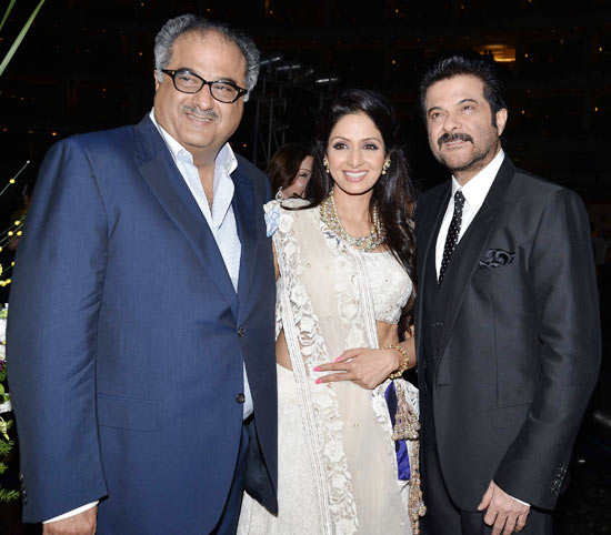Boney Kapoor, Sridevi and Anil Kapoor