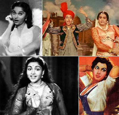 Clockwise: Waheeda Rehman in CID, Babita and Biswajeet in Kismet, Shyama in Aar Paar and Vyjayantimala in Bahar