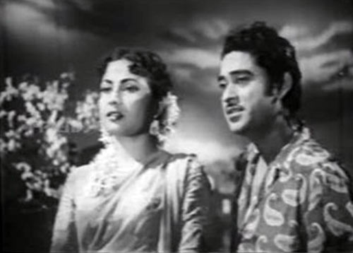 Meena Kumari and Kishore Kumar in Naya Andaz