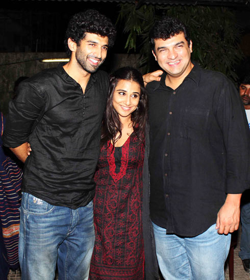 Vidya Balan, flanked by Aditya and Siddharth Roy Kapur