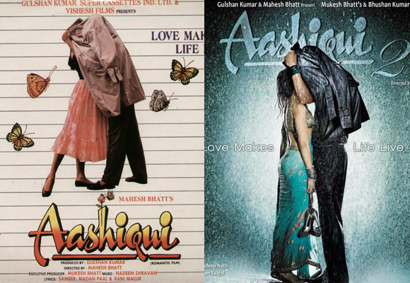 Left: Movie poster of Aashiqui (1990). Right: Movie poster of Aashiqui-2