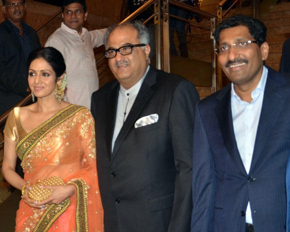 Sridevi and Boney Kapoor woith Sudhakar Shetty