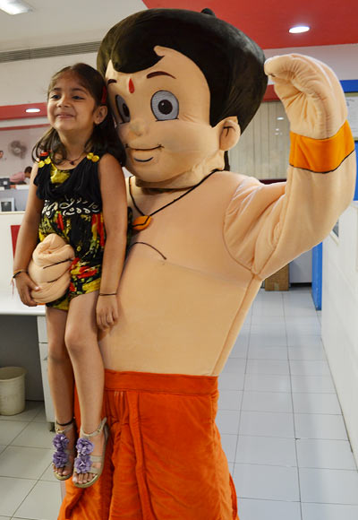 Chhota Bheem with  young fan