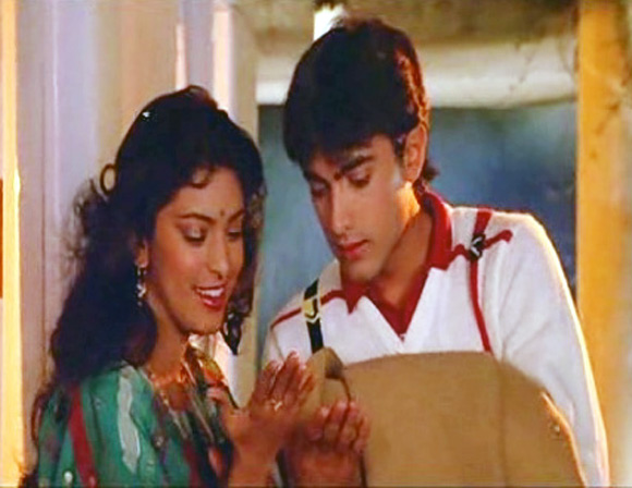 Juhi Chawla and Aamir Khan in Qayamat Se Qayamat Tak