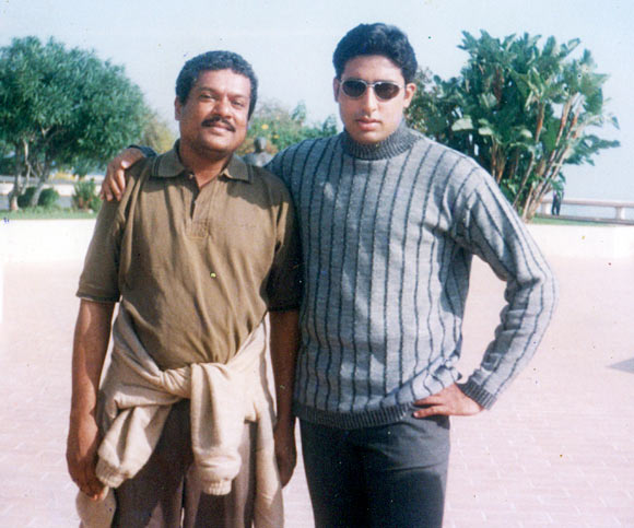 Pushottam Shetty and Abhishek Bachchan on the sets of Dhai Akshar Prem Ke