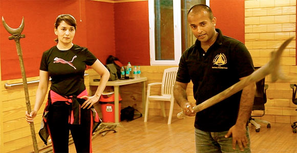 Madhuri Dixit trains for her Gulaab Gang role
