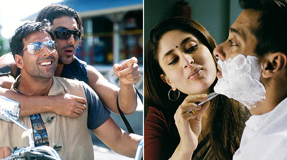 Akshay Kumar John Abraham in Garam Masala, Kareena Kapoor and Salman Khan in Kyun Ki