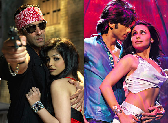 Salman Khan and Ayesha Takia in Wanted, Shahid Kaporr and Rani Mukerji in Dil Bole Hadippa