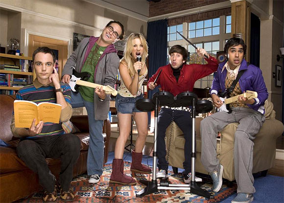Jim Parsons, John Galecki, Kaley Cuoco, Simon Helberg and Kunal Nayyar in The Big Bang Theory