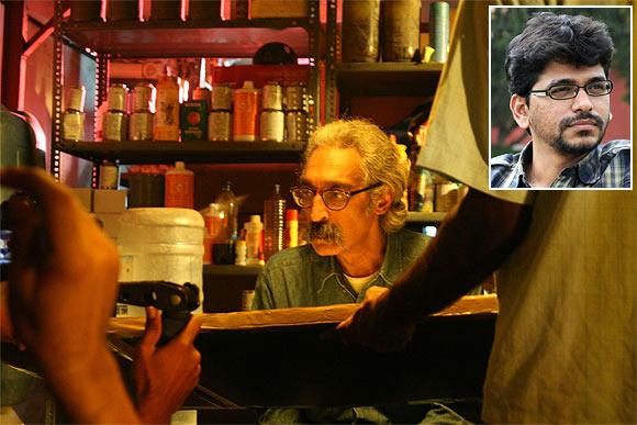 A scene from Lucia. Inset director Pawan Kumar
