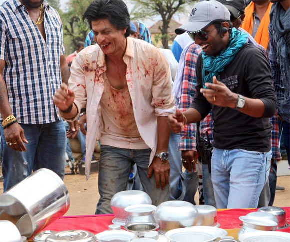 Shah Rukh Khan on the sets of Chennai Express