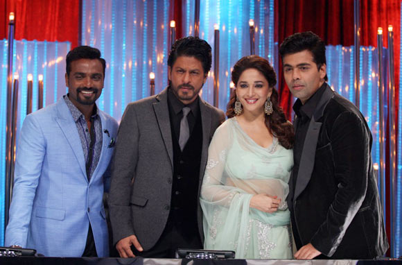 Remo D'Souza, Shah Rukh Khan, Madhuri Dixit and Karan Johar on Jhalak Dikhlaa Jaa season 6