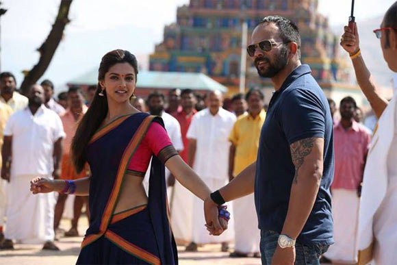 Deepika Padukone and Rohit Shetty on the sets of Chennai Express