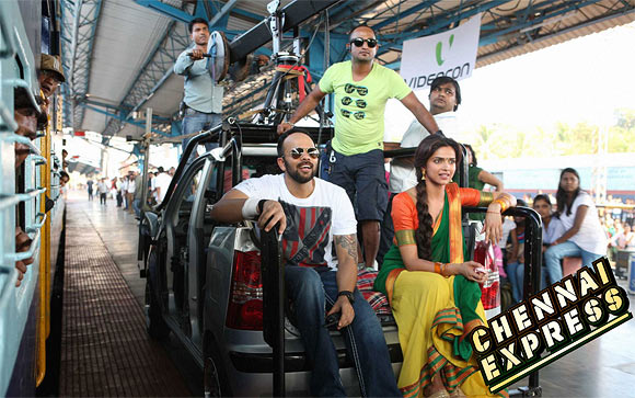 Rohit Shetty and Deepika Padukone on the sets if Chennai Express