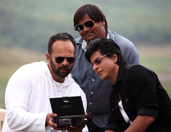 Rohit Shetty and Shah Rukh Khan on the sets of Chennai Express