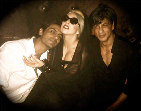 Shah Rukh Khan with Lady Gaga and Arjun Rampal