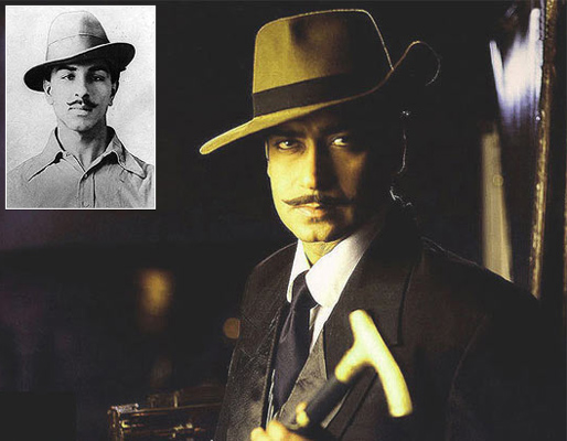 Ajay Devgn as Shaheed Bhagat Singh in The Legend Of Bhagat Singh. Inset: Bhagat Singh