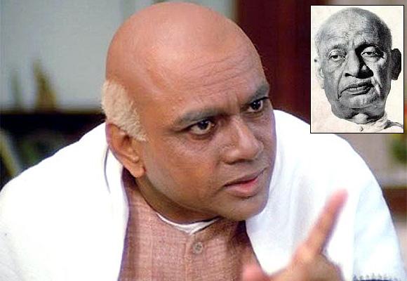 Paresh Rawal as Sardar Valabhbhai Patel. Inset: Sardar Vallabhbhai Patel