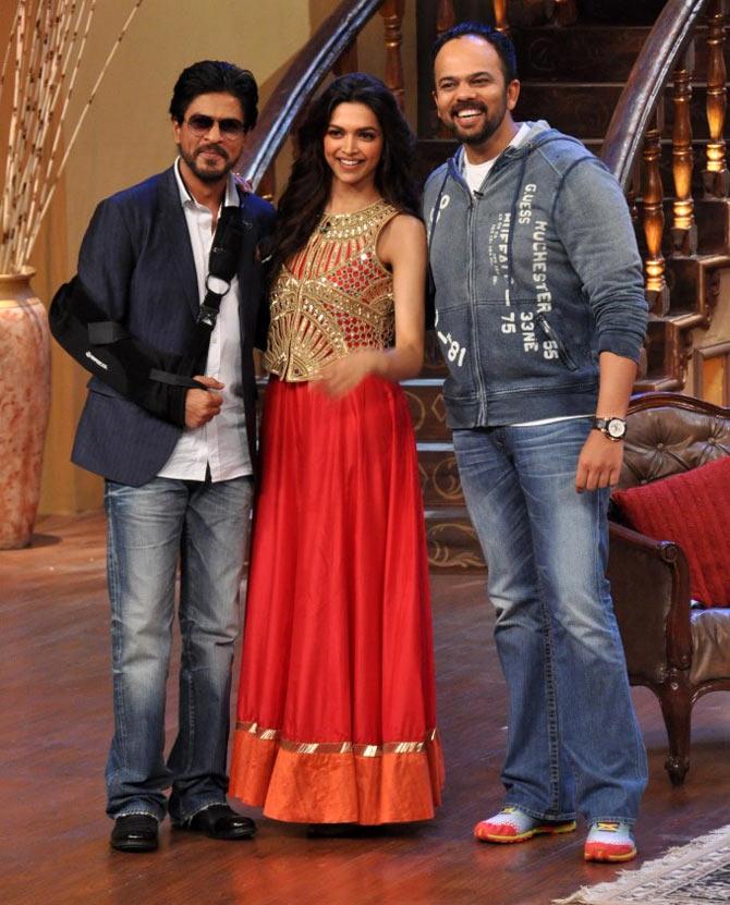 Shah Rukh Shah, Deepika Padukone and Rohit Shetty