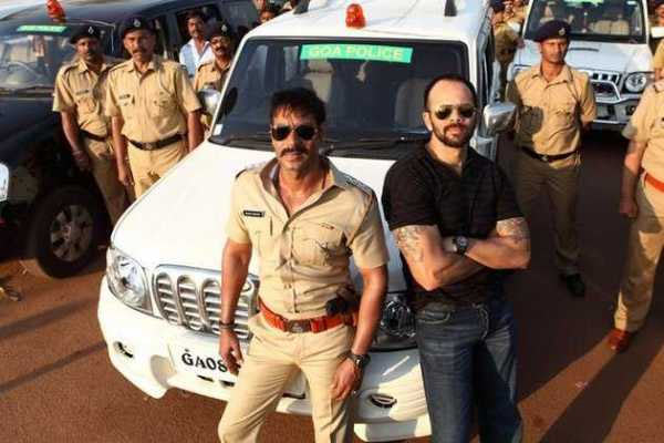 Ajay Devgn and Rohit Shetty on the sets of Singham