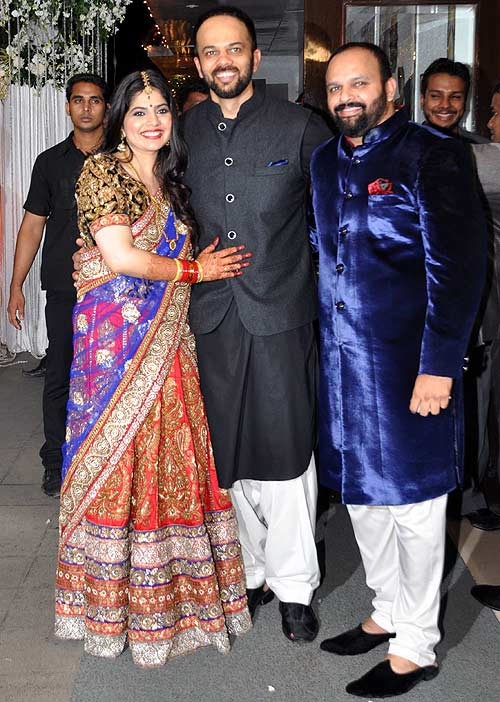 Rohit Shetty with sister Mahek and her husband at her wedding