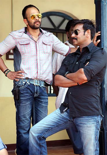Rohit Shetty and Ajay Devgn on the sets of Singham