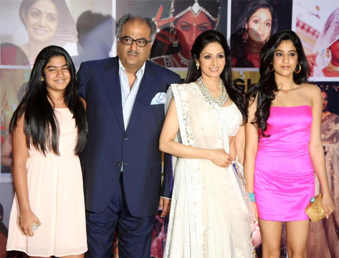 Sridevi with husband Boney Kapoor and daughters Jahnvi and Khushi
