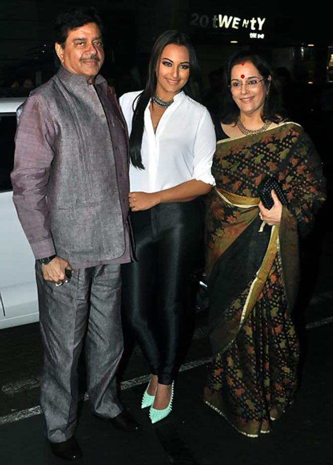 Sonakshi Sinha with parents Shatrughan and Poonam Sinha