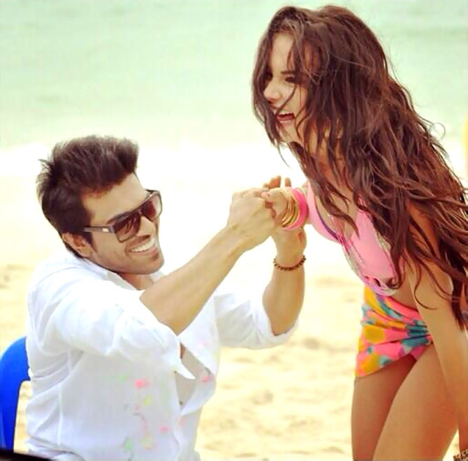 Ram Charan Teja and Amy Jackson on the sets of Yevadu
