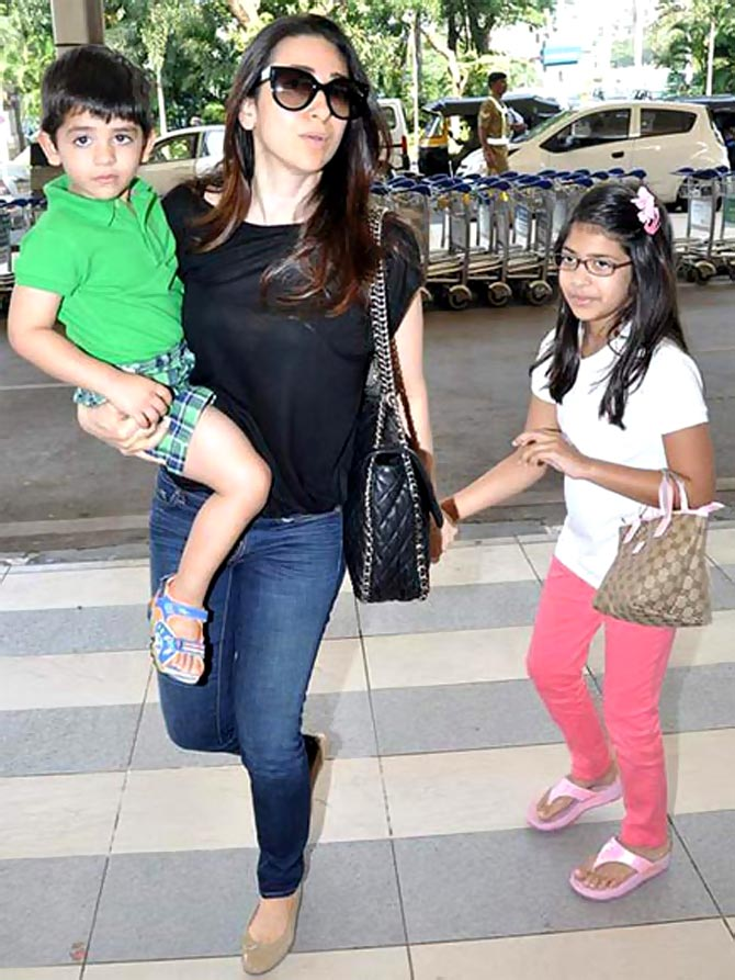Karisma Kapoor with daughter Samaira and son Kiaan Raj Kapoor