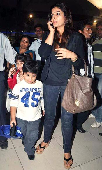 Raveena Tandon with son Ranbir (foreground) and daughter Rasha