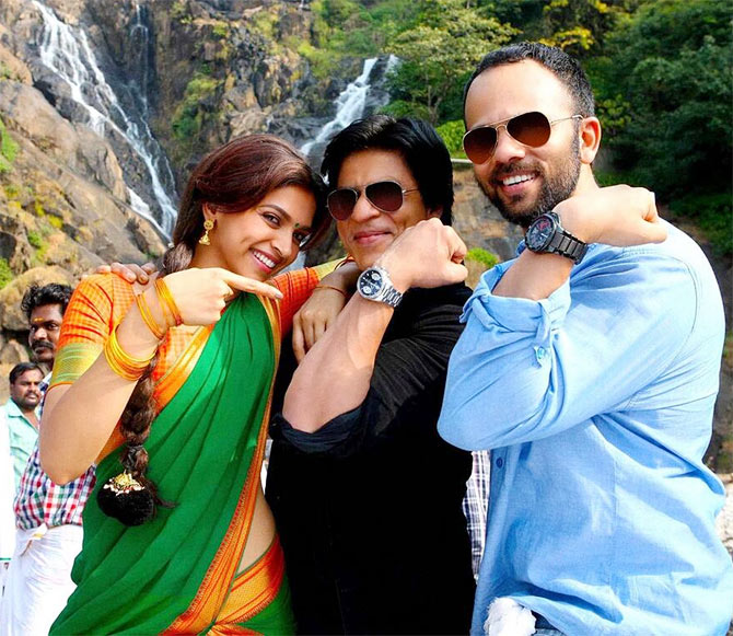 Deepika Padukone, Shah Rukh Khan and Rohit Shetty on the sets of Chennai Express
