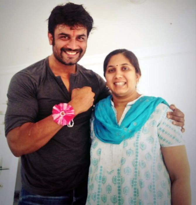 Sharad Kelkar with his sister