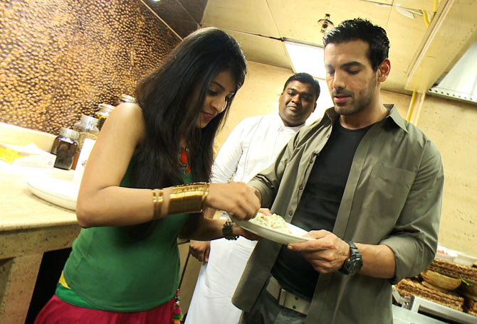 John Abraham and host Garima