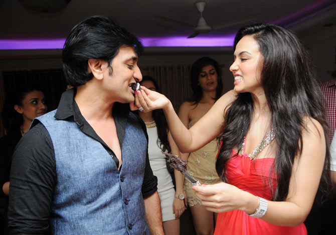 Rajev Paul and Sana Khan