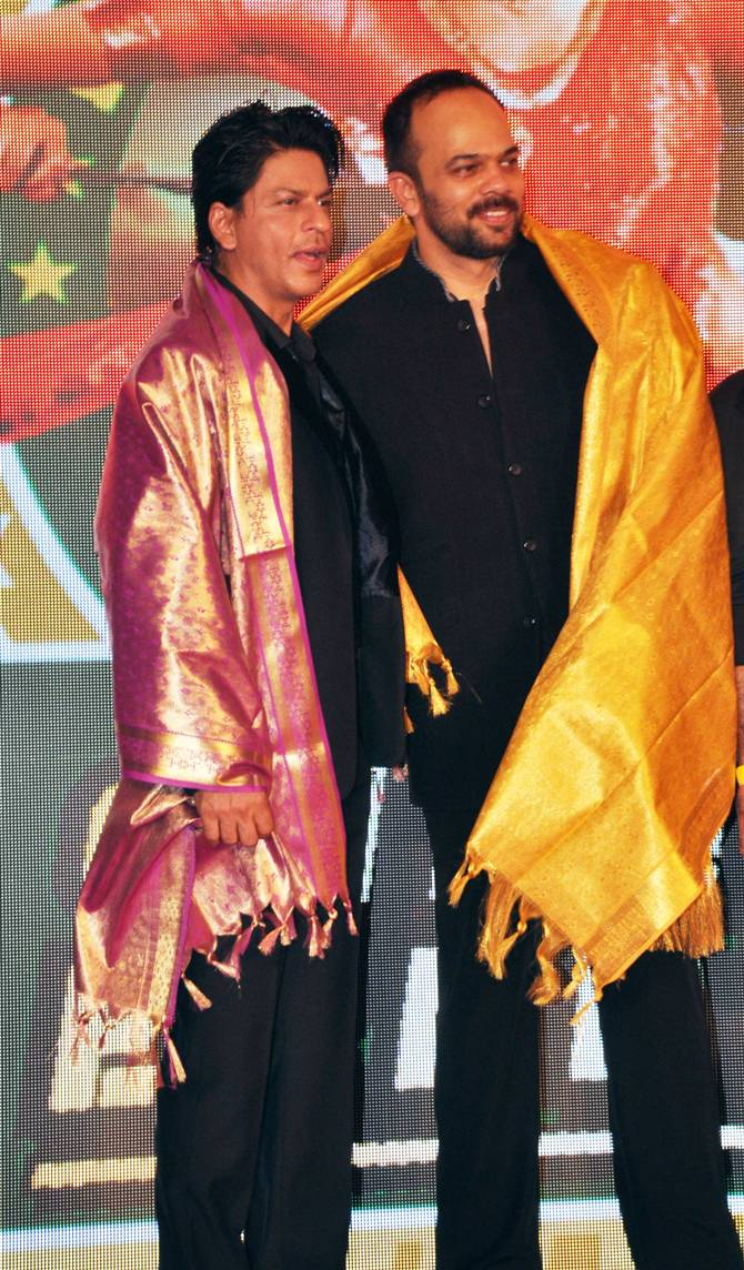 Rohit Shetty and Shah Rukh Khan at a promotional event for Chennai Express