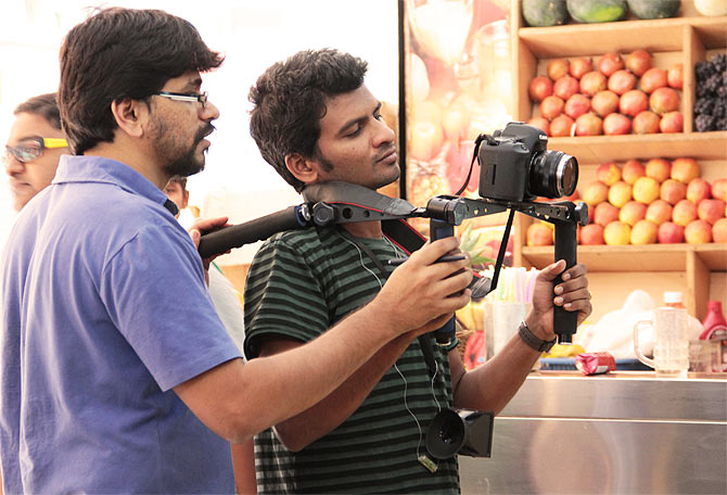 Director Pawan Kumar and Siddhartha Nuni on the sets of Lucia