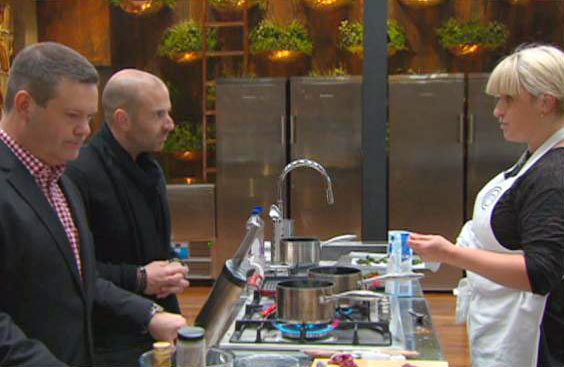 Gary Mehigan and George Calombaris with a contestant