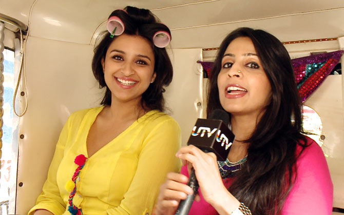 Parineeti Chopra with the host Garima