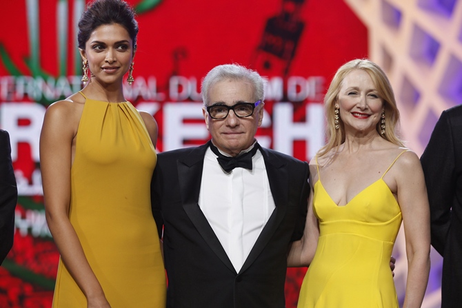 Deepika Padukone with Martin Scorsese and Patricia Clarkson