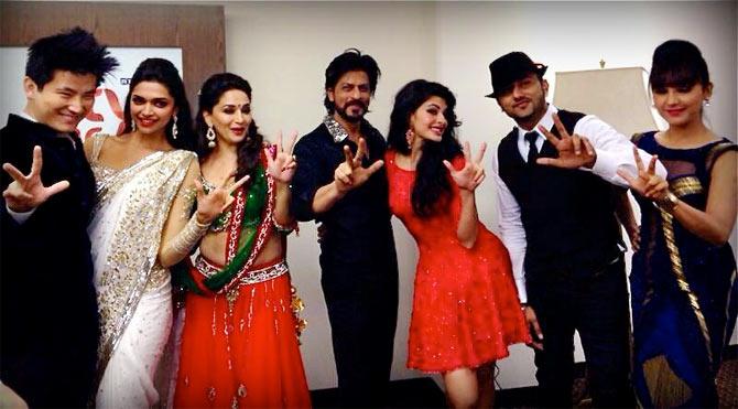 Meiyang Chang, Deepika Padukone, Madhuri Dixit, Shah Rukh Khan, Jaqueline Fernandez, Honey Singh, Neeti Mohan