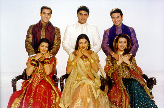 Salman Khan, Mohnish Behl, Saif Ali Khan, Karisma Kapoor, Tabu and Sonali Bendre in Hum Saath Saath Hain