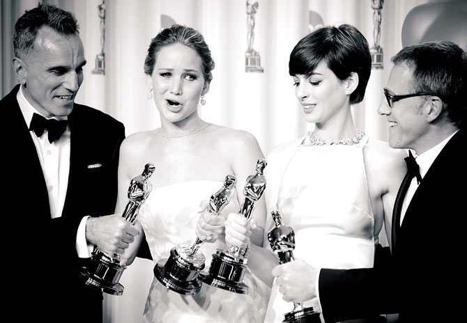 Jennifer Lawrence with fellow OScar winners Daniel Day Lewis, Anne Hathaway and Christoph Waltz
