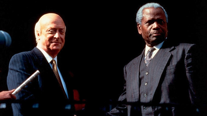 Michael Cain and Sidney Poitier in Mandela And De Klerk