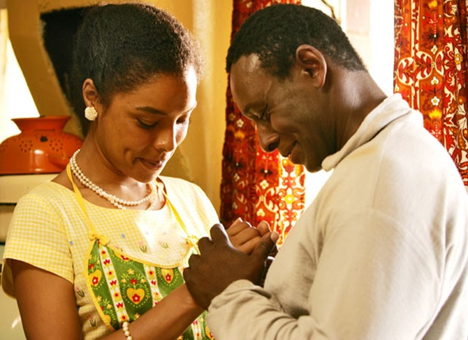 David Harewood and Sophie Okonedu in Mrs Mandela