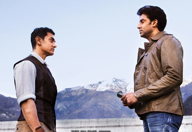 Aamir Khan and Abhishek Bachchan in Dhoom 3