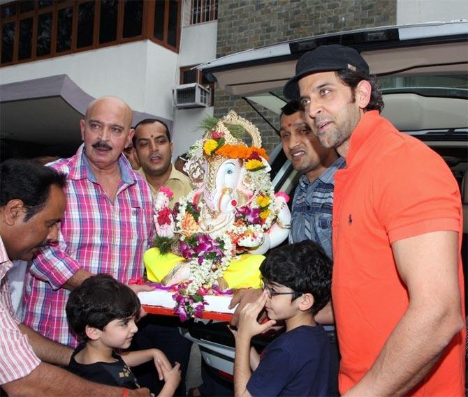 The Roshans celebrating Ganpati