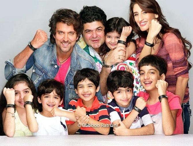 Hrithik Roshan, Dabboo Ratnani, Farah Khan Ali and the children