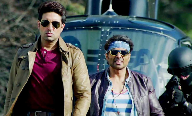 Abhishek Bachchan and Uday Chopra in Dhoom 3