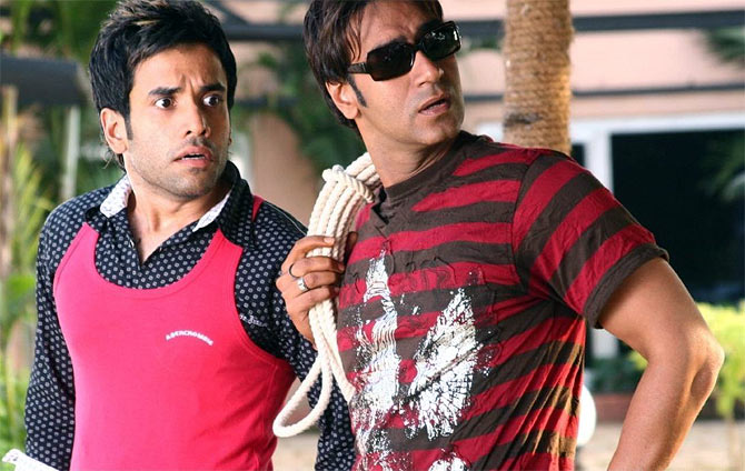 Tusshar Kapoor and Ajay Devgn in Golmaal Returns